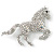Clear/ AB Pave Set Austrian Crystal 'Horse' Brooch - 65mm Across - view 6