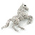 Clear/ AB Pave Set Austrian Crystal 'Horse' Brooch - 65mm Across - view 3