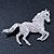 Clear/ AB Pave Set Austrian Crystal 'Horse' Brooch - 65mm Across - view 2