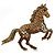 Topaz, Amber, AB Coloured Pave Set Austrian Crystal 'Horse' Brooch/ Pendant In Broze Tone - 65mm Across