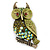 Olive Green, AB Swarovski Crystal Owl Brooch/ Pendant In Gold Plating - 40mm Length