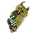 Olive Green, AB Swarovski Crystal Owl Brooch/ Pendant In Gold Plating - 40mm Length - view 7