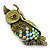 Olive Green, AB Swarovski Crystal Owl Brooch/ Pendant In Gold Plating - 40mm Length - view 5