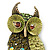Olive Green, AB Swarovski Crystal Owl Brooch/ Pendant In Gold Plating - 40mm Length - view 2