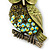 Olive Green, AB Swarovski Crystal Owl Brooch/ Pendant In Gold Plating - 40mm Length - view 6