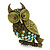 Olive Green, AB Swarovski Crystal Owl Brooch/ Pendant In Gold Plating - 40mm Length - view 4