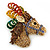 Multicoloured Austrian Crystal Circus Horse Head Brooch/ Pendant In Gold Tone - 70mm Across - view 4