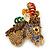 Multicoloured Austrian Crystal Circus Horse Head Brooch/ Pendant In Gold Tone - 70mm Across - view 2