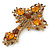 Statement Topaz Coloured Austrian Crystal Cross Brooch/ Pendant In Gold Tone Metal - 85mm Length - view 2