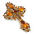 Statement Topaz Coloured Austrian Crystal Cross Brooch/ Pendant In Gold Tone Metal - 85mm Length - view 3