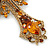 Statement Topaz Coloured Austrian Crystal Cross Brooch/ Pendant In Gold Tone Metal - 85mm Length - view 4