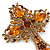 Statement Topaz Coloured Austrian Crystal Cross Brooch/ Pendant In Gold Tone Metal - 85mm Length - view 5