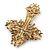 Statement Topaz Coloured Austrian Crystal Cross Brooch/ Pendant In Gold Tone Metal - 85mm Length - view 6