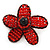 Handmade Red Glass Bead 'Daisy' Brooch In Copper Tone - 55mm Diameter