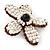 Handmade White Glass Bead 'Daisy' Brooch In Copper Tone - 55mm Diameter - view 3