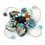 Handmade Light Blue Shell, Beaded Wire Flower Brooch In Silver Tone - 45mm Diameter - view 6