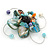 Handmade Light Blue Shell, Beaded Wire Flower Brooch In Silver Tone - 45mm Diameter - view 4