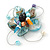 Handmade Light Blue Shell, Beaded Wire Flower Brooch In Silver Tone - 45mm Diameter - view 2