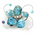 Handmade Light Blue Shell, Beaded Wire Flower Brooch In Silver Tone - 45mm Diameter - view 5