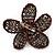 Handmade Metallic Grey Glass Bead 'Daisy' Brooch In Copper Tone - 55mm Diameter - view 4