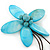 Handmade Light Blue Shell Flower With Turquoise Bead Dangle Brooch - 95mm Length - view 2
