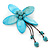 Handmade Light Blue Shell Flower With Turquoise Bead Dangle Brooch - 95mm Length - view 3