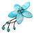 Handmade Light Blue Shell Flower With Turquoise Bead Dangle Brooch - 95mm Length - view 4