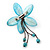 Handmade Light Blue Shell Flower With Turquoise Bead Dangle Brooch - 95mm Length - view 5