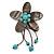 Handmade Slate Black Shell Flower With Turquoise Bead Dangle Brooch - 95mm Length