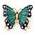 Green/ Dark Blue Enamel, Crystal Butterfly Brooch In Gold Tone - 55mm L - view 6