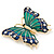Green/ Dark Blue Enamel, Crystal Butterfly Brooch In Gold Tone - 55mm L - view 2