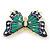 Green/ Dark Blue Enamel, Crystal Butterfly Brooch In Gold Tone - 55mm L - view 3
