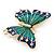 Green/ Dark Blue Enamel, Crystal Butterfly Brooch In Gold Tone - 55mm L - view 4