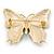 Green/ Dark Blue Enamel, Crystal Butterfly Brooch In Gold Tone - 55mm L - view 5