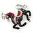 Black/ Red Enamel, Crystal Horse Brooch In Silver Tone - 48mm Across - view 2