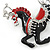 Black/ Red Enamel, Crystal Horse Brooch In Silver Tone - 48mm Across - view 3