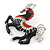 Black/ Red Enamel, Crystal Horse Brooch In Silver Tone - 48mm Across - view 4