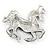 Black/ Red Enamel, Crystal Horse Brooch In Silver Tone - 48mm Across - view 5