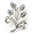 Light Grey Imitation Pearl, Clear Crystal Floral Brooch In Silver Tone - 45mm L