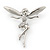 Silver Tone Clear Crystal 'Fairy' Brooch - 45mm L - view 4