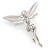 Silver Tone Clear Crystal 'Fairy' Brooch - 45mm L - view 5