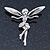 Silver Tone Clear Crystal 'Fairy' Brooch - 45mm L