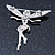 Silver Tone Clear Crystal 'Fairy' Brooch - 45mm L - view 3