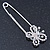 Rhodium Plated Clear Crystal Butterfly Safety Pin Brooch - 85mm L