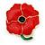 Red, Green Enamel Poppy Flower Brooch In Polished Gold Tone - 45mm L