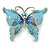 Sky Blue Enamel Crystal Butterfly Brooch In Rhodium Plating - 50mm W