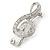 Rhodium Plated Diamante 'Treble Clef' Brooch - 50mm L - view 8