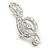 Rhodium Plated Diamante 'Treble Clef' Brooch - 50mm L - view 9