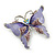 Purple Enamel Crystal Butterfly Brooch In Rhodium Plating - 50mm W - view 3
