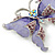 Purple Enamel Crystal Butterfly Brooch In Rhodium Plating - 50mm W - view 4